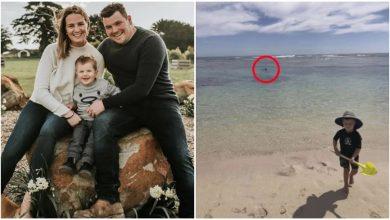 Photo of เด็ก 2 ขวบเล่นบนชายหาด  ในช่วงเวลานี้พ่อของเขาเสียชีวิตและกินโดยฉลาม |  ลูกชายกำลังเล่นน้ำบนชายหาดส่วนพ่อกำลังดำน้ำตื้นในทะเลฉลามกินศพ