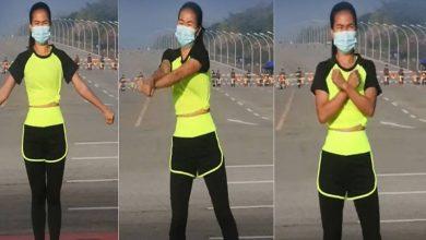 Photo of วิดีโอ: ครูสอนแอโรบิคถ่ายภาพหน้ารัฐสภาเมื่อทหารเมียนมาทำรัฐประหาร |  วิดีโอ: ผู้หญิงกำลังออกกำลังกายนอกรัฐสภาและขบวนของกองทัพกำลังทำรัฐประหารจากด้านหลัง
